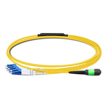 1m (3ft) MTP Female to 4 LC UPC Duplex OS2 9/125 Single Mode Fiber Breakout Cable, 8 Fibers, Type B, Elite, LSZH, Yellow