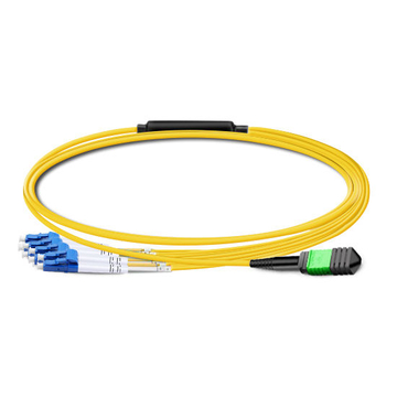 1m (3ft) Low Insertion Loss MPO Female to 4 LC UPC Duplex OS2 9/125 Single Mode Fiber Breakout Cable, 8 Fibers Type B, Elite, LSZH, Yellow