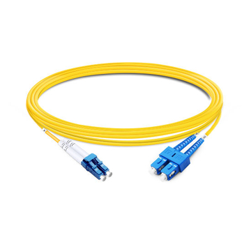 1m (3ft) Duplex OS2 Single Mode LC UPC to SC UPC LSZH Fiber Optic Cable