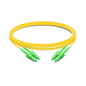 1m (3ft) Duplex OS2 Single Mode SC APC to SC APC PVC (OFNR) Fiber Optic Cable