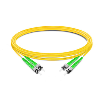 1m (3ft) Duplex OS2 Single Mode ST APC to ST APC PVC (OFNR) Fiber Optic Cable