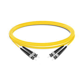 1m (3ft) Duplex OS2 Single Mode ST UPC to ST UPC PVC (OFNR) Fiber Optic Cable